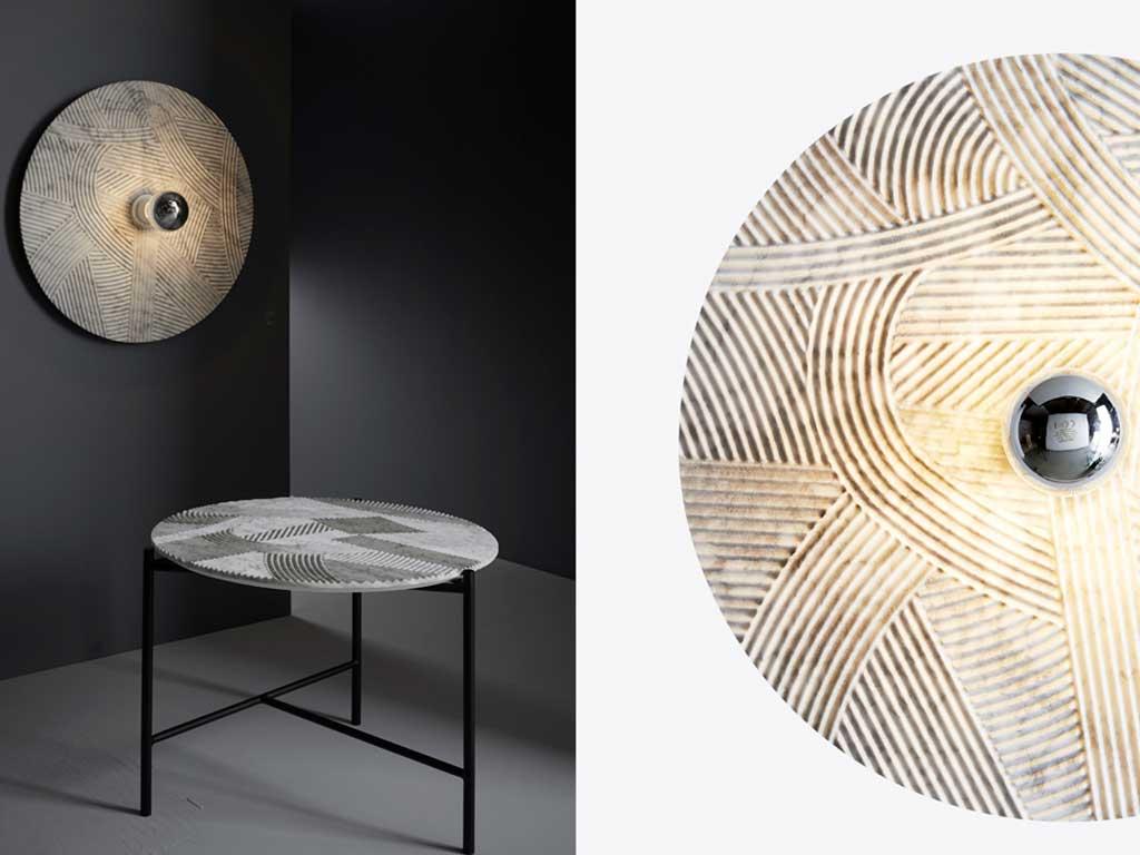 applique e tavolino in marmo