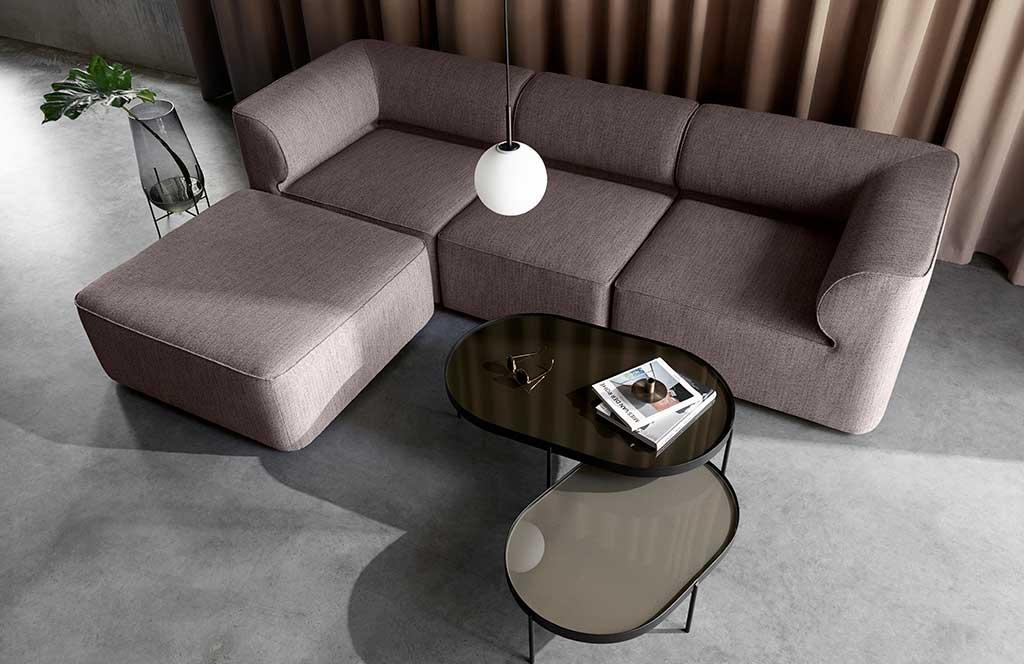 divano modulare tessuto grigio