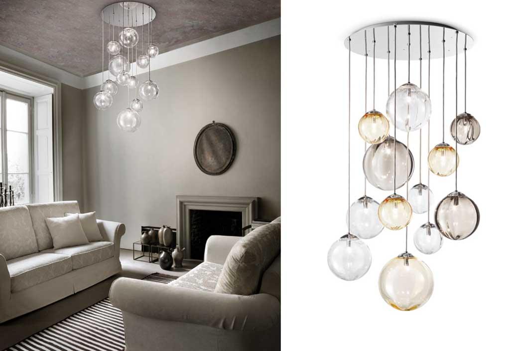 lampadario gruppo sfere vetro