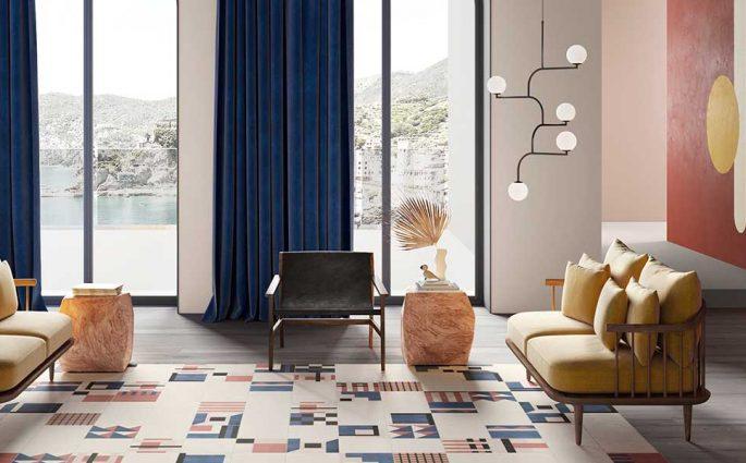 tappeto di piastrelle geometriche living