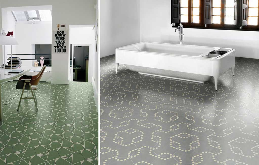 piastrelle verde e grigio geometriche