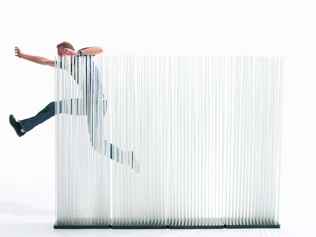 parete divisoria bastoncini trasparenti