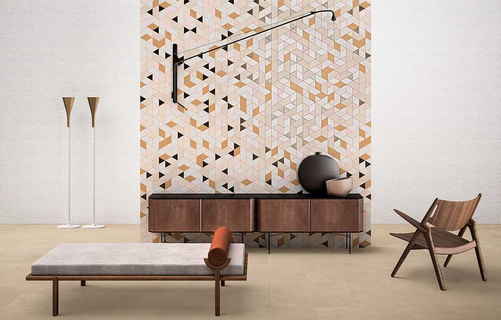 parete piastrelle geometriche
