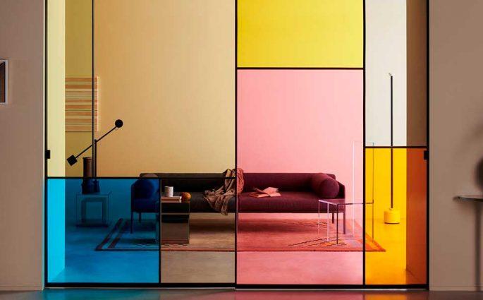 parete scorrevole colorata