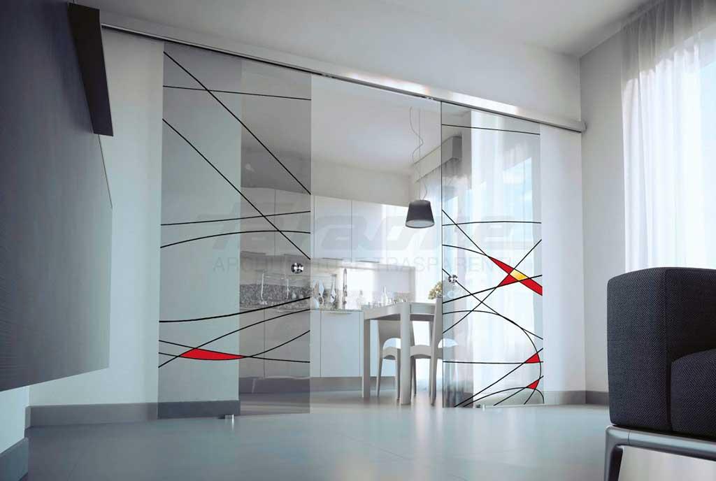parete scorrevole tutto vetro