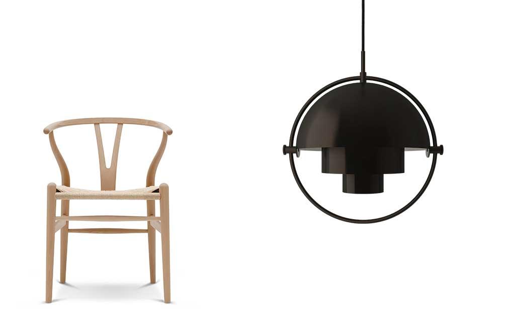 sedia legno e lampada sospesa
