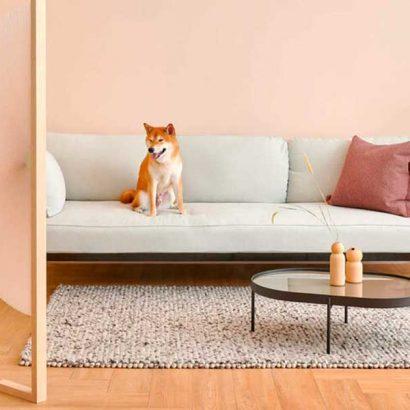 separe legno stoffa rosa design