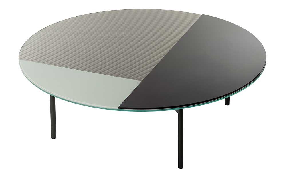 tavolino tondo acciaio e vetro