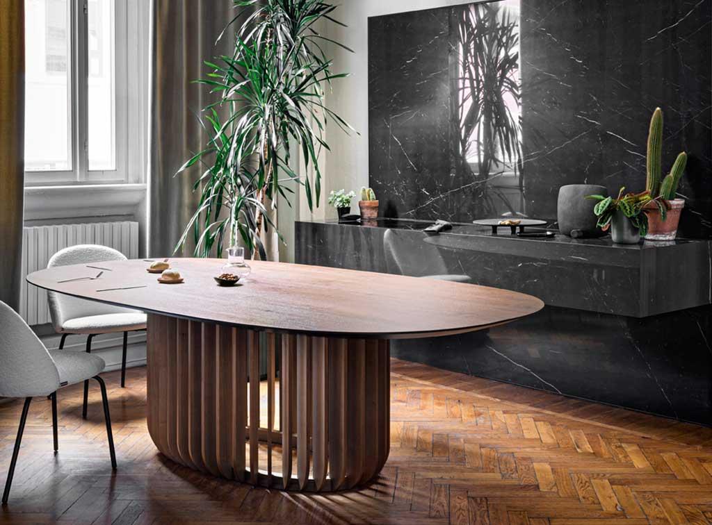 tavolo legno ellittico