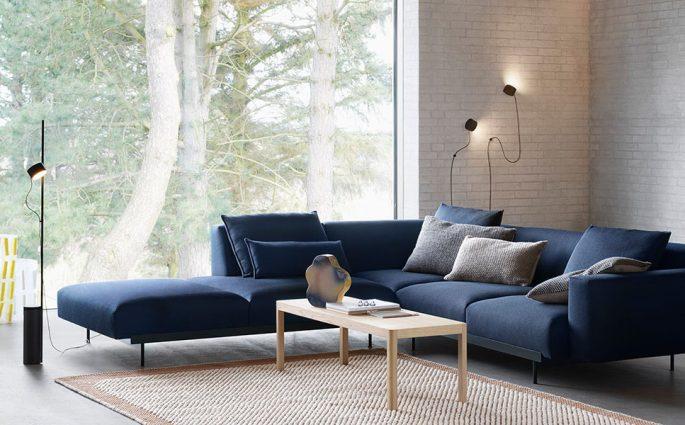 divano angolare blu tessuto grande