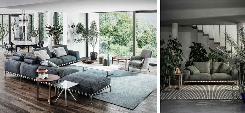 divano base metallo cinghie cuoio