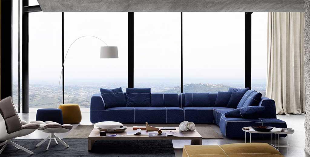 divano componibile blu bend urquiola