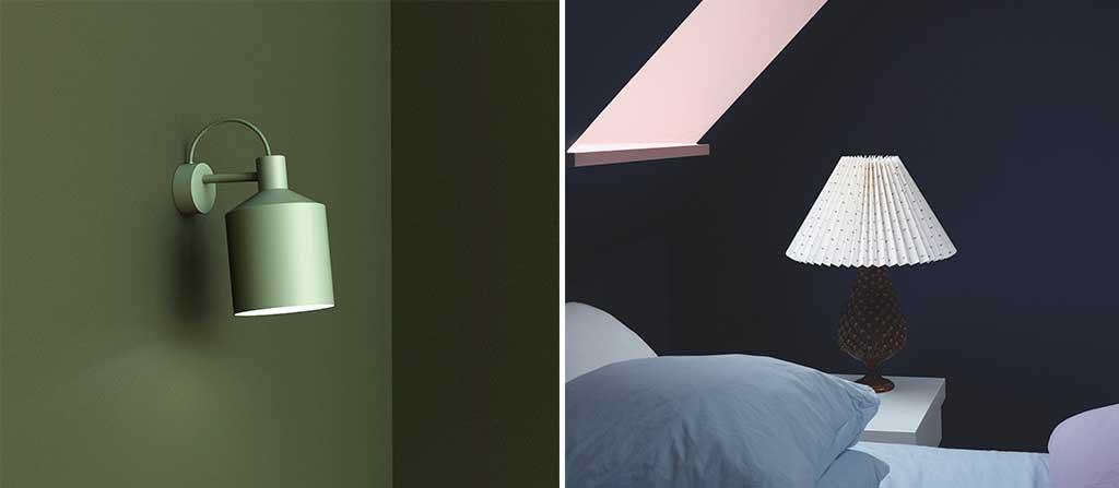 lampada parete verde