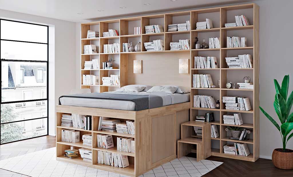 letto rialzato libreria