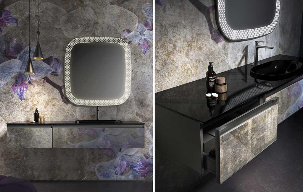 mobile bagno nero e grigio