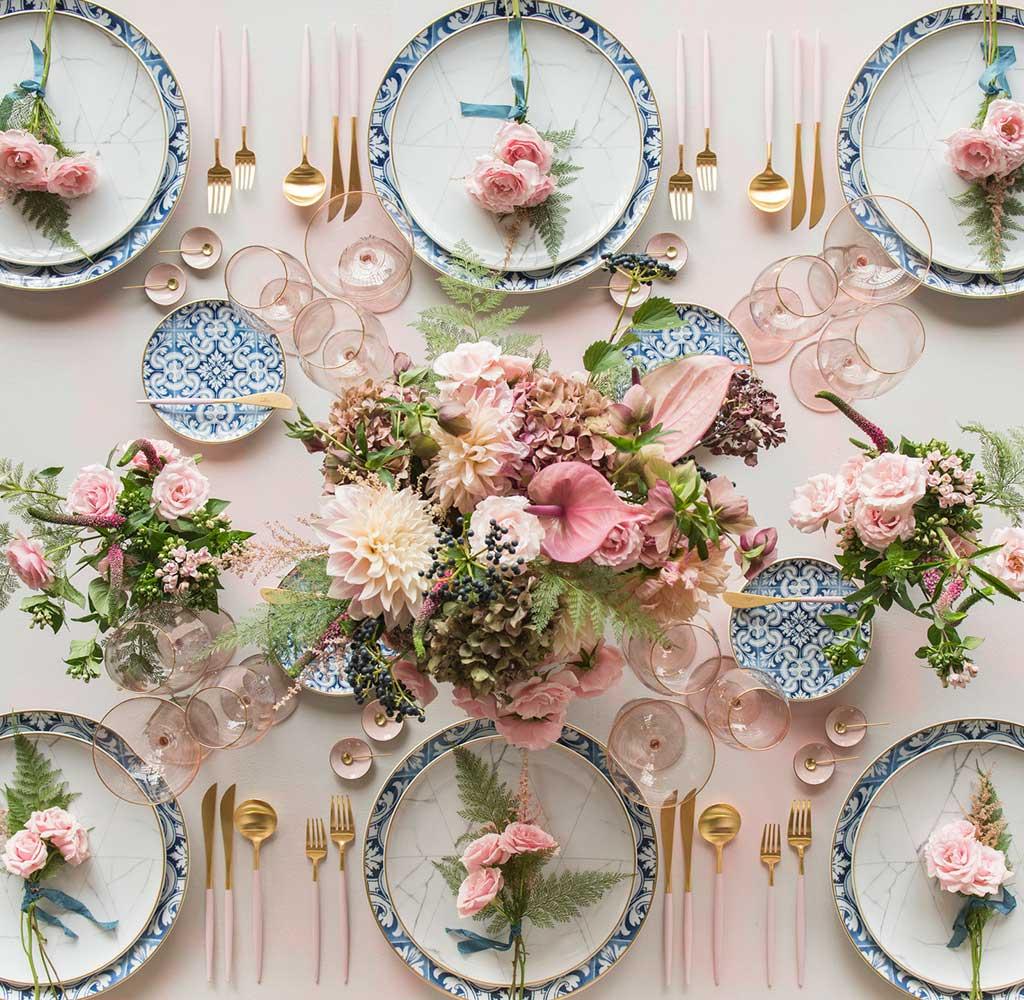 piatti decoro blu tavola