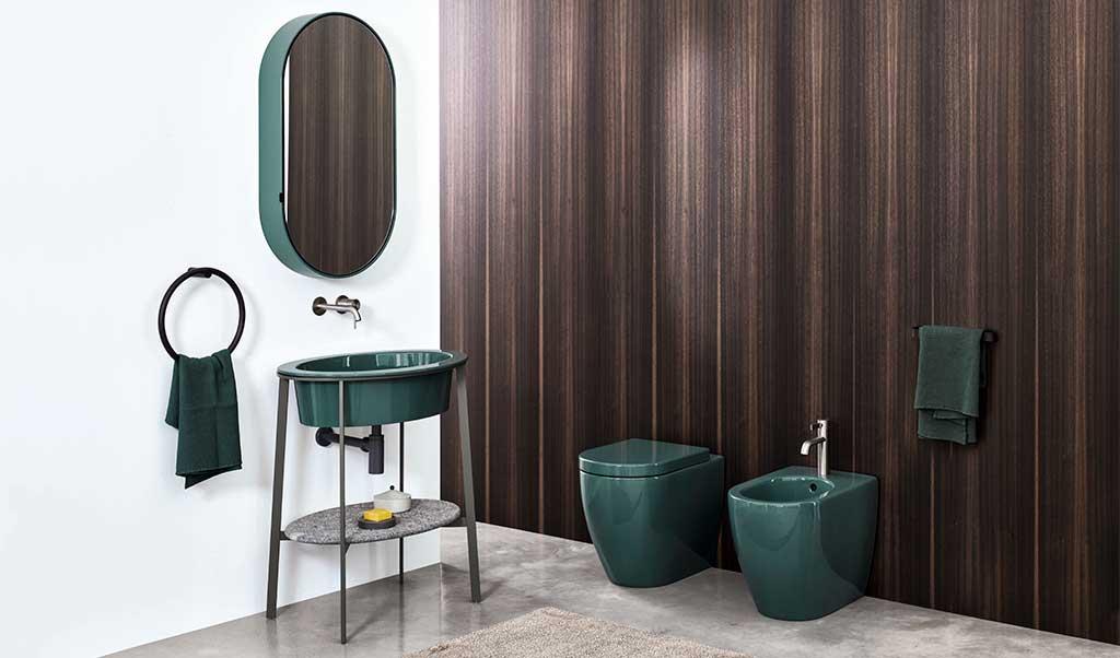 sanitari lavabo specchio verde