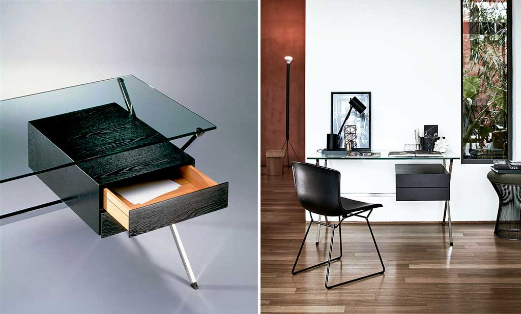 scrivania piccola piano vetro