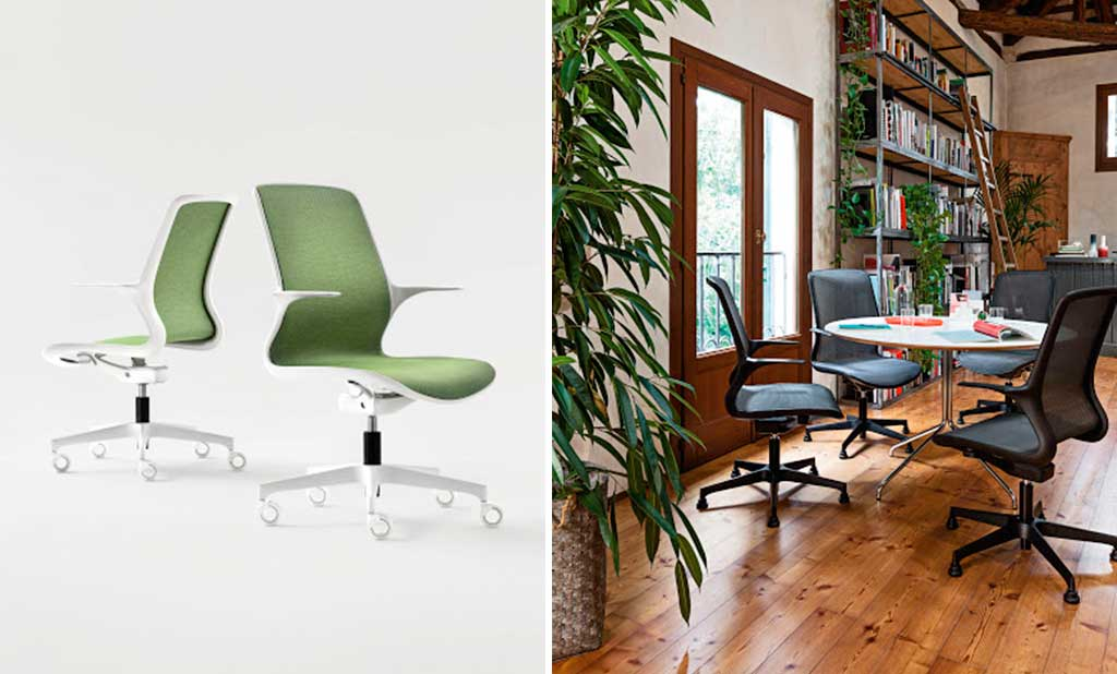 sedia girevole bianco nero verde