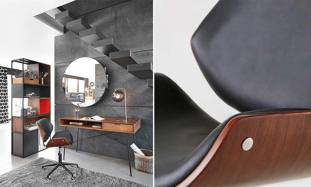 sedia girevole legno curvato