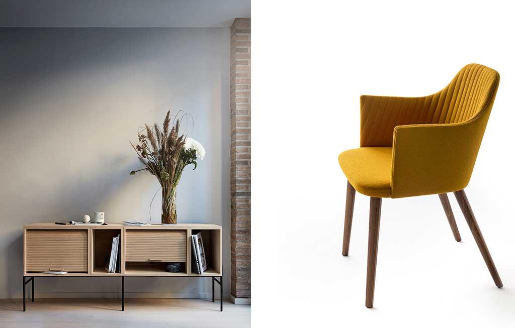 mobile legno e sedia giallo senape