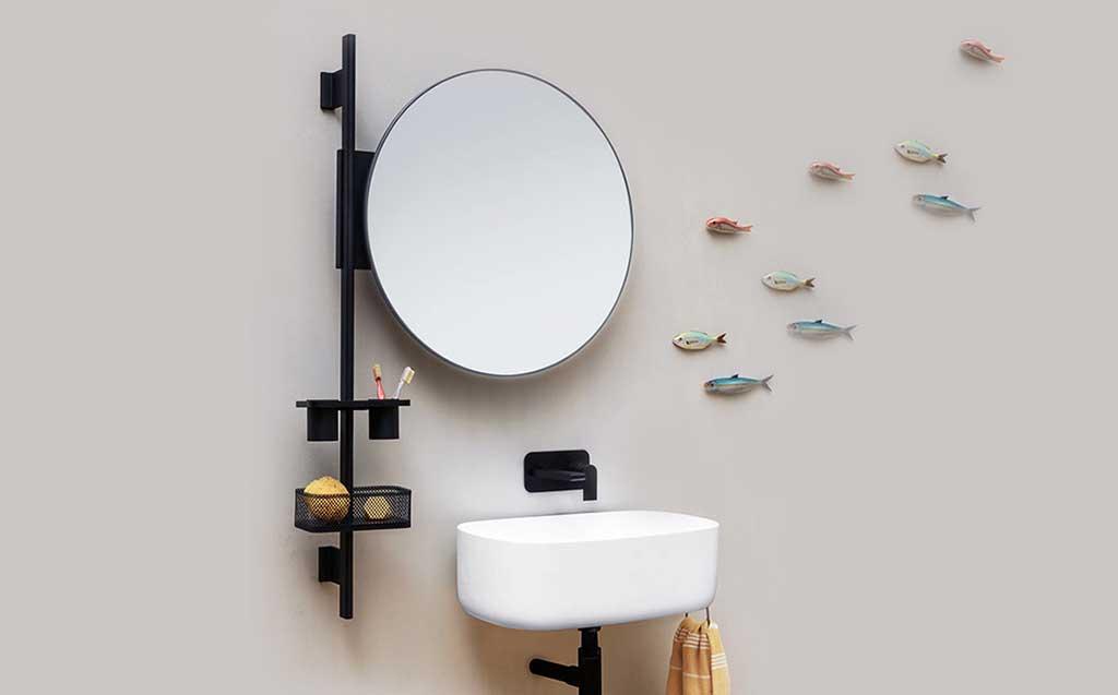 specchio barra parete