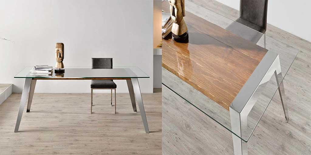 tavolo acciaio legno vetro