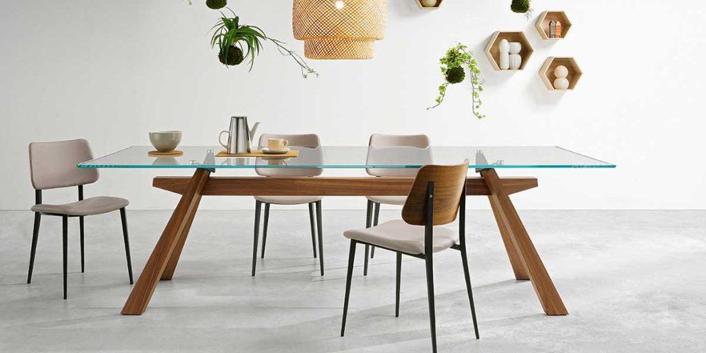tavolo pranzo vetro piano e legno