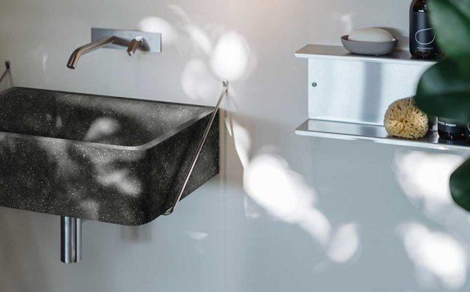lavabo in pietra nero