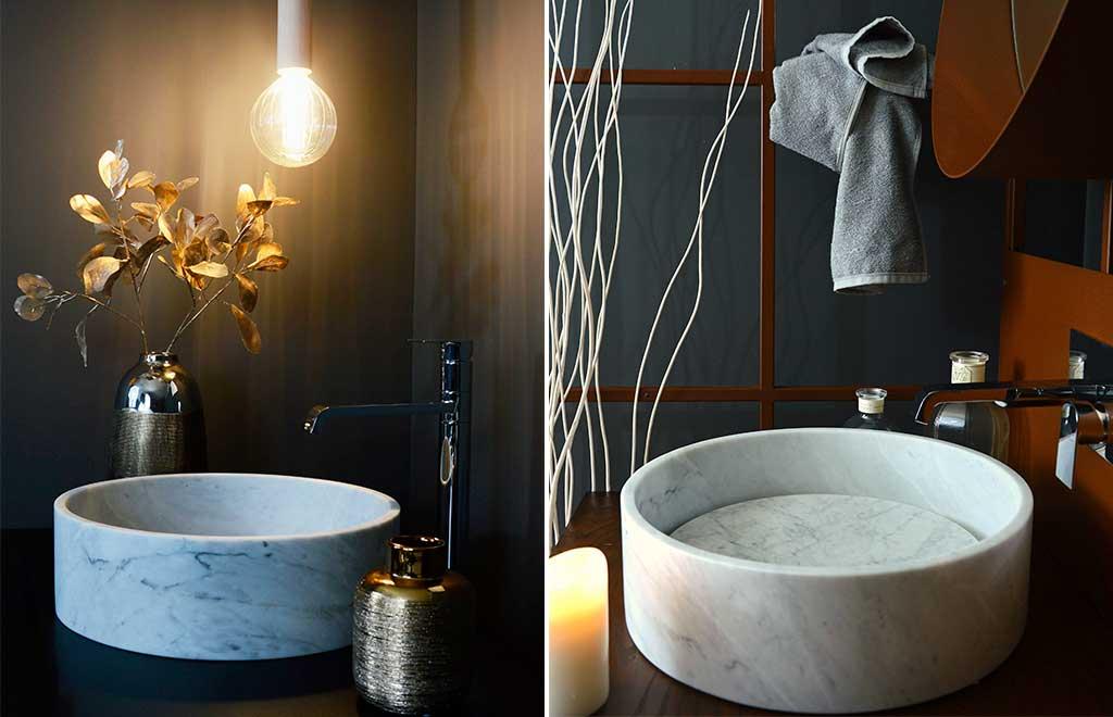 lavabo tondo marmo bianco