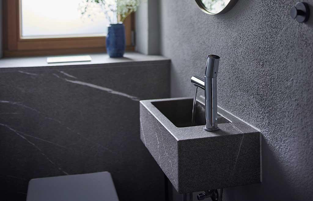 mini lavabo pietra nera