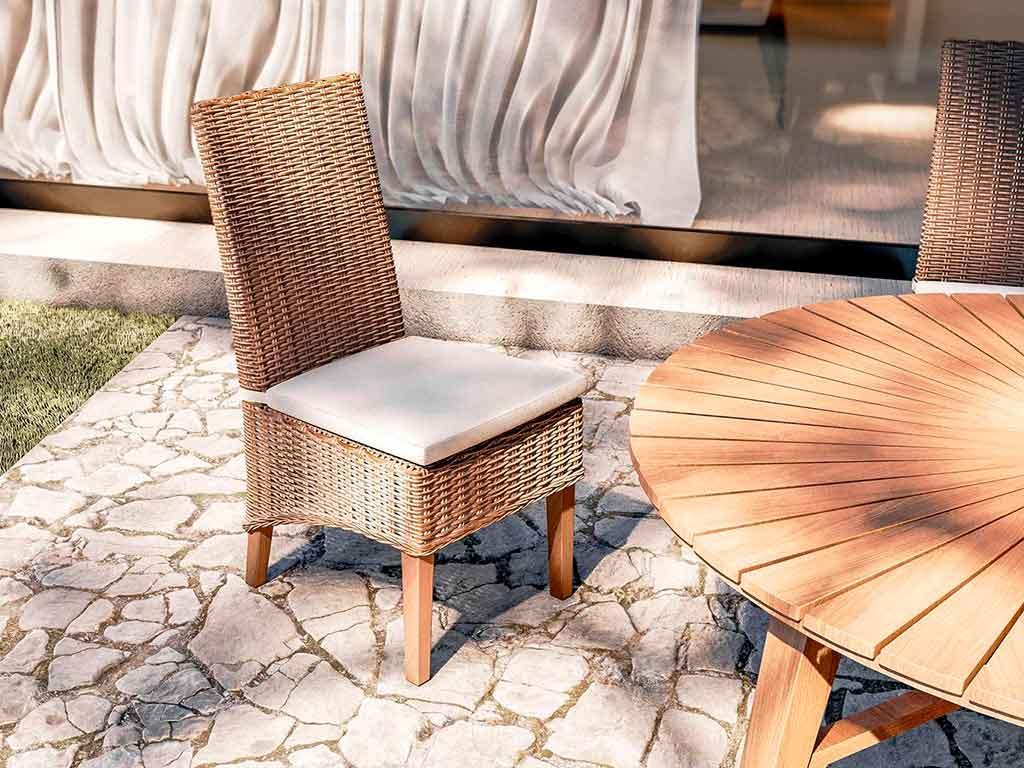 sedia legno e rattan schienale alto