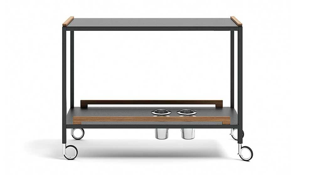 carrello portavivande alluminio nero
