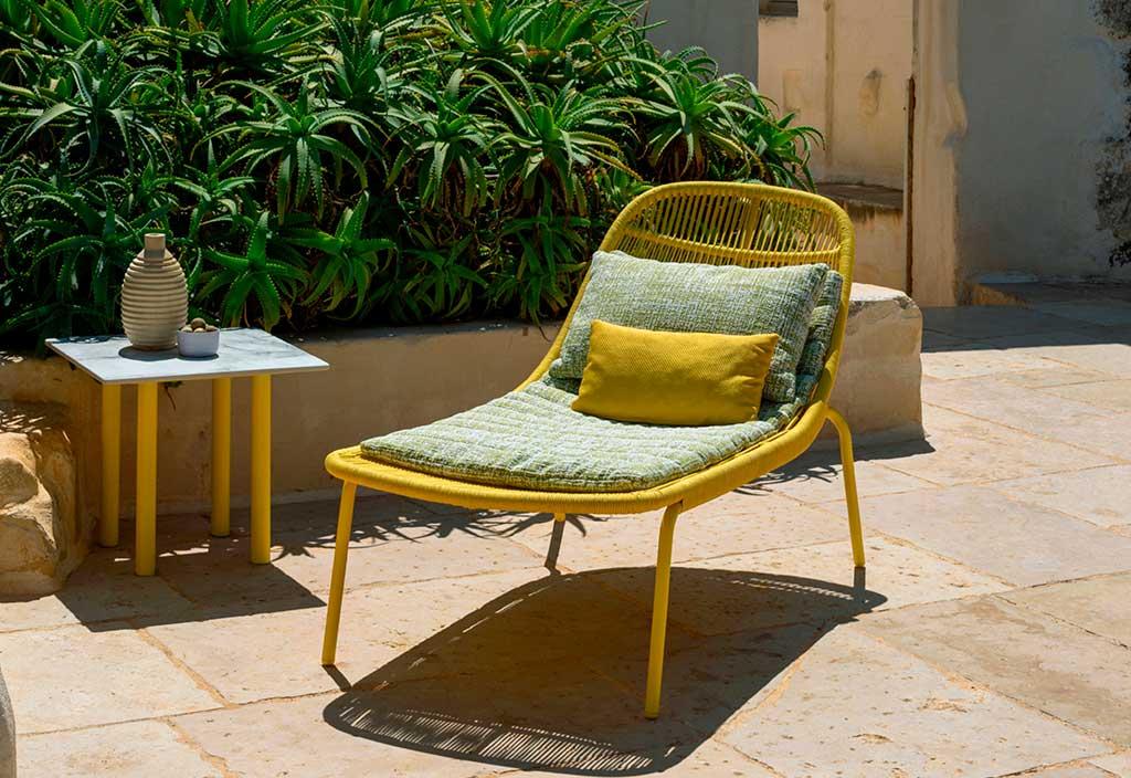 chaise longue giallo corda
