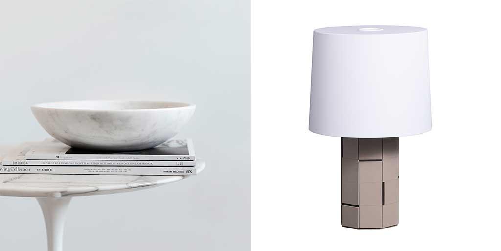 ciotola marmo e lampada tavolo