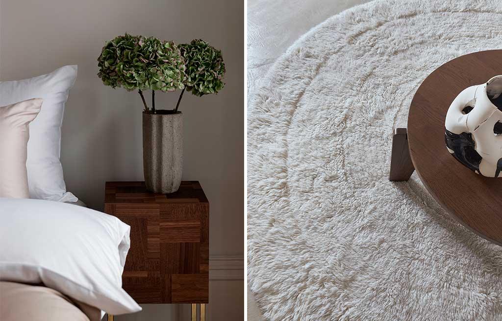 comodino legno e tappeto tondo bianco