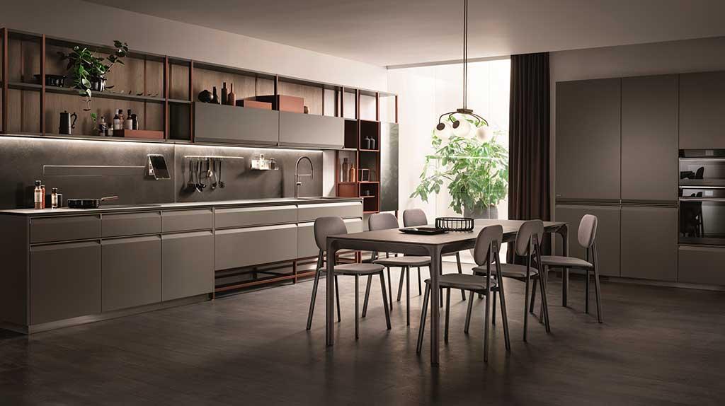cucina living grigio