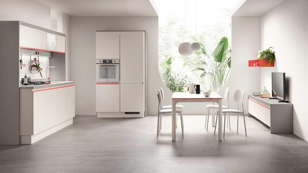 cucina giovane rosso bianco