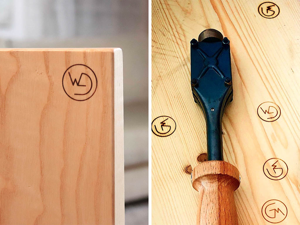 marchio a fuoco su legno