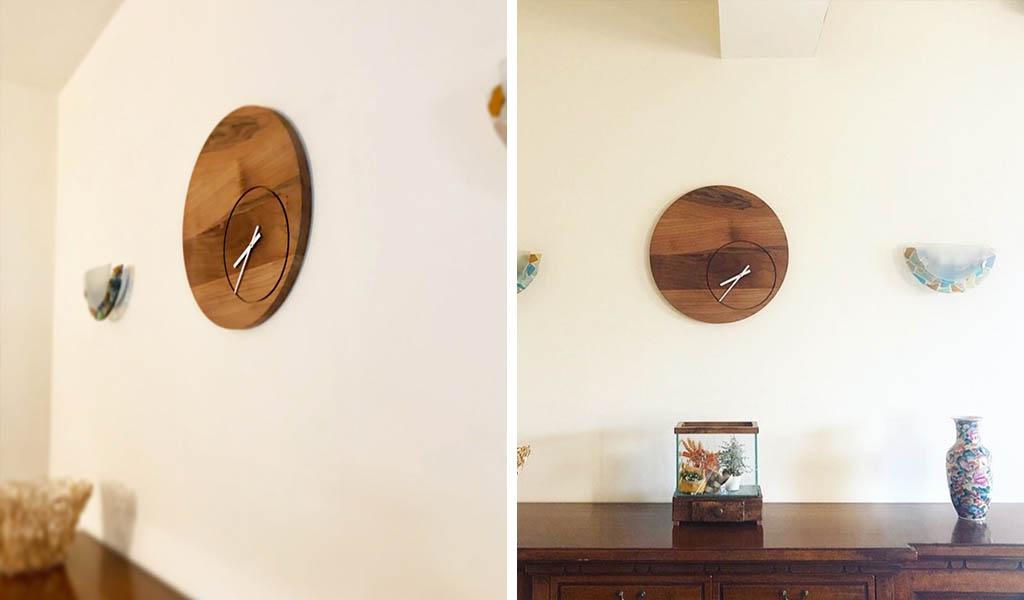 orologio a muro in legno massello