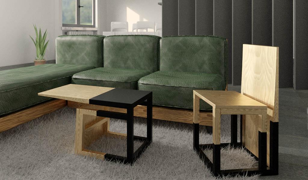 render soggiorno con sedia e tavolino il legno