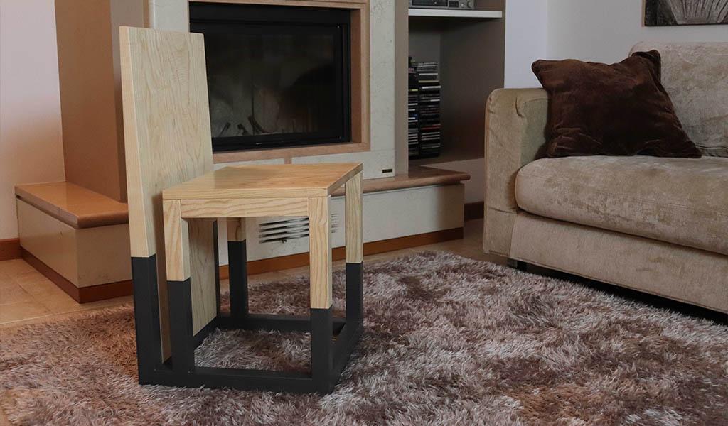 sedia legno massello e ferro soggiorno