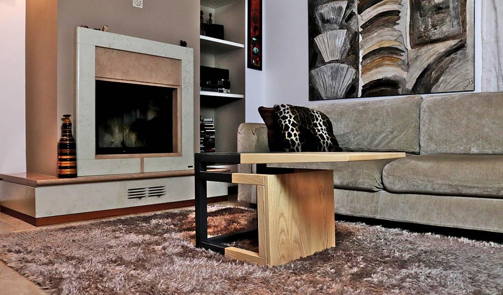 tavolino soggiorno legno massello e ferro