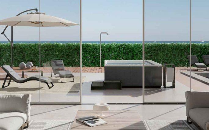 piscina quadrata piccola esterno