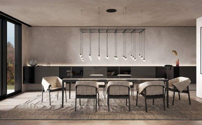 interior design render soggiorno divano bianco