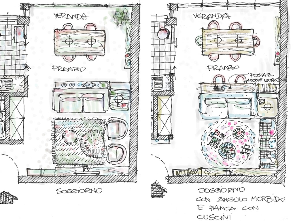 schizzo layout casa flessibile