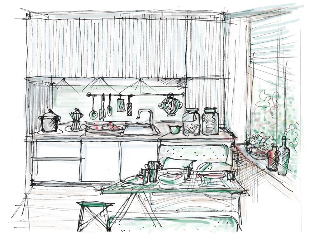 schizzo penna acquerello design cucina