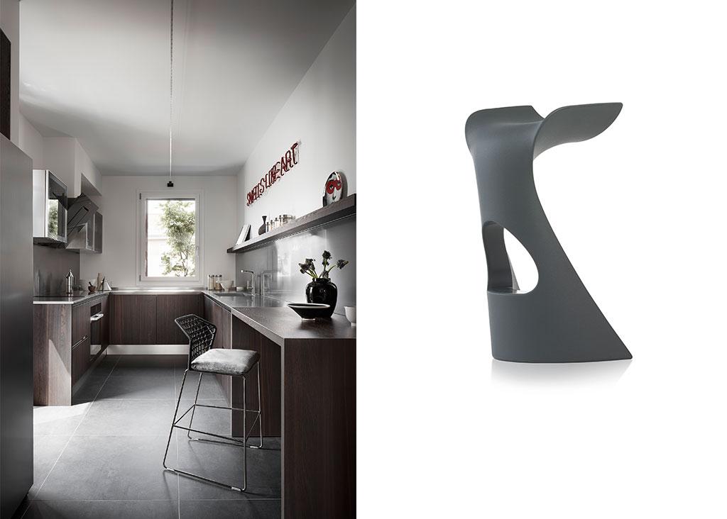 cucina su misura e sgabello koncord