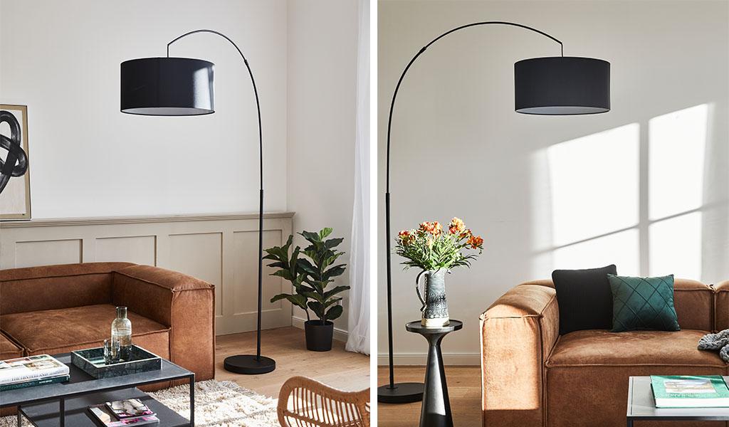 lampada soggiorno ad arco nera