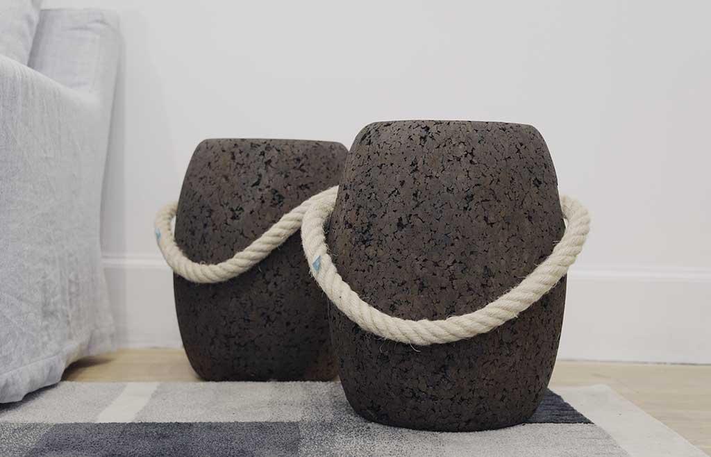 pouf in sughero fatti a mano